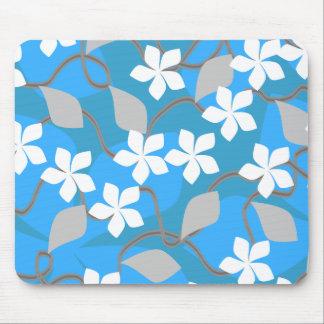 青および白い花。 花パターン マウスパッド