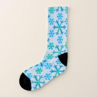 青および白い雪片の六角形パターン ソックス