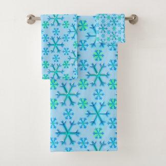青および白い雪片の六角形パターン バスタオルセット