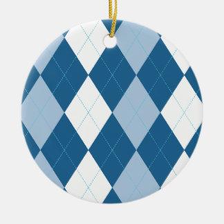 青および白くアーガイル柄のなオーナメント セラミックオーナメント
