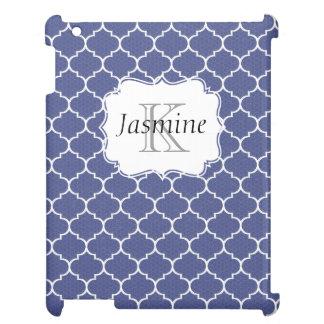 青および白くカスタムなモロッコのモノグラムのiPadの箱 iPad Case