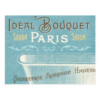 青および白くフランスのな浴槽 ポストカード