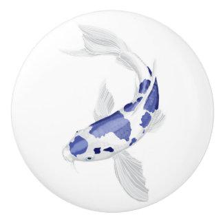 青および白く内気な魚 セラミックノブ