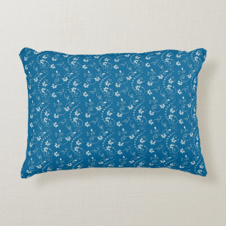 青および白く小さい花パターン装飾用クッション アクセントクッション