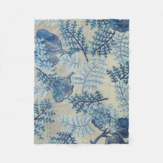 青および白く旧式な織り方の花柄毛布 フリースブランケット