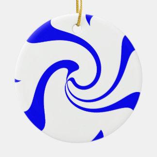 青および白のねじれ セラミックオーナメント