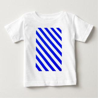 青および白のストライブ柄のデザイン ベビーTシャツ