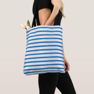 青および白のストライプなパターン トートバッグ