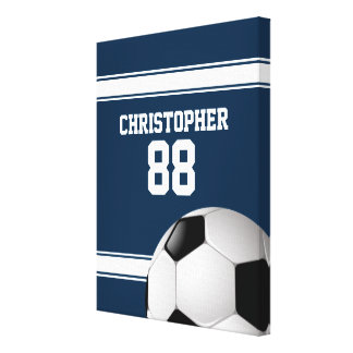 青および白のストライプのジャージーのサッカーボール キャンバスプリント