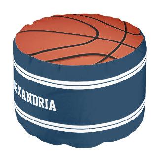 青および白のストライプのバスケットボールジャージー プーフ