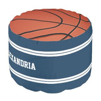 青および白のストライプのバスケットボールジャージー ラウンドクッション