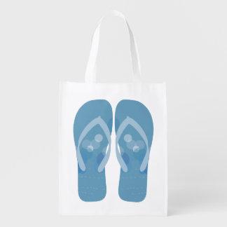 青および白のビーチの夏のビーチサンダルのバッグ エコバッグ