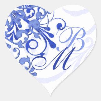 青および白の抽象的な花の封筒用シール ハートシール