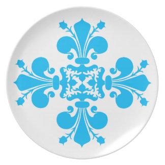 青および白|の(紋章の)フラ・ダ・リ プレート