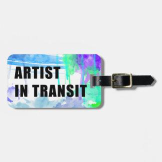 青および紫色のカスタムな芸術家旅行ラベル ラゲッジタグ