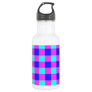青および紫色のギンガムパターン ウォーターボトル