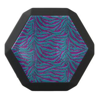 青および紫色のシマウマのアニマルプリントのスピーカー ブラックBluetoothスピーカー