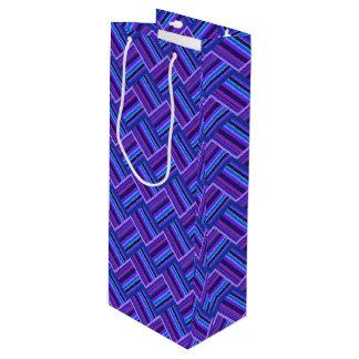 青および紫色のストライブ柄の織り方 ワインギフトバッグ