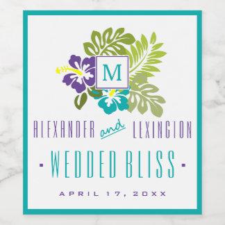 青および紫色のハイビスカスのモノグラムのな結婚式 ワインラベル