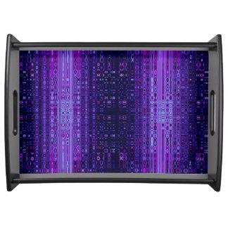 青および紫色のモダンの抽象芸術のトレイ トレー