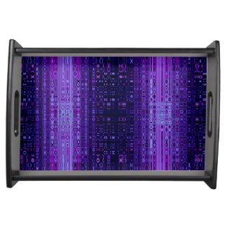 青および紫色のモダンの抽象芸術 トレー