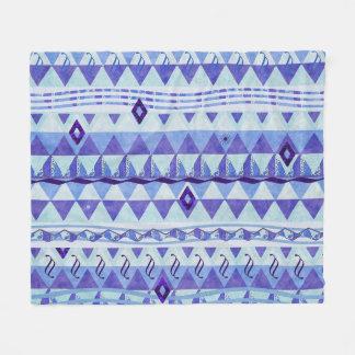 青および紫色の三角形の記号のモチーフ フリースブランケット