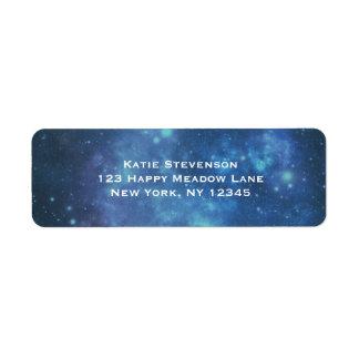青および紫色の宇宙宇宙のイメージ ラベル