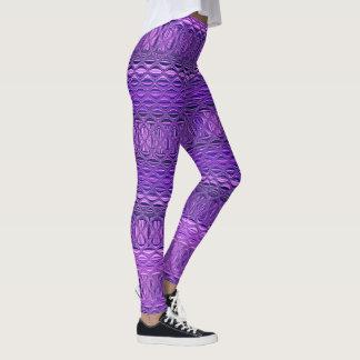 青および紫色の抽象的なダイヤモンド格子パターン レギンス