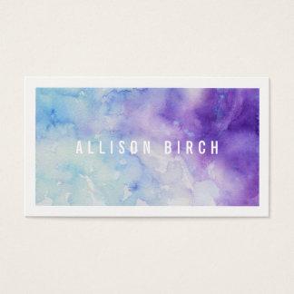 青および紫色の水彩画の名刺 名刺