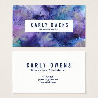青および紫色の水彩画の質の名刺 名刺