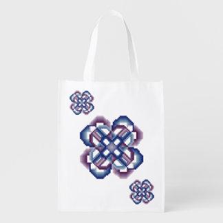 青および紫色の熱狂するな円 エコバッグ