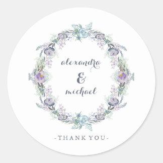 青および紫色の花のリースの結婚式は感謝していしています ラウンドシール
