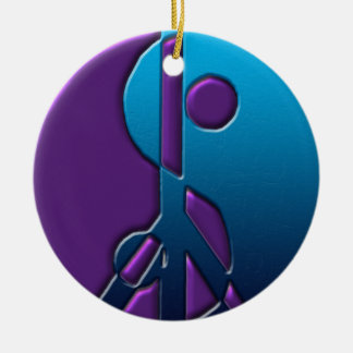 青および紫色の陰陽のピースサインのオーナメント セラミックオーナメント