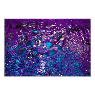 青および紫色抽象的な水写真 フォトプリント