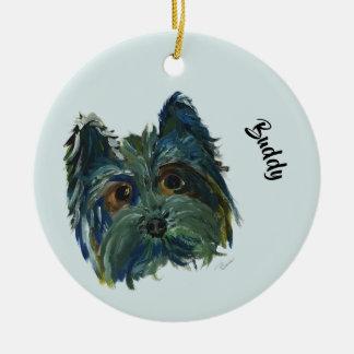 青および緑のかわいい犬のヨークシャーテリアのポップアートの絵画 セラミックオーナメント