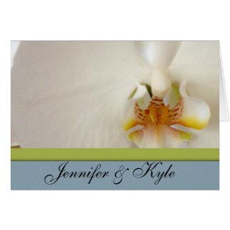 青および緑のアクセントの白い蘭のテンプレート カード