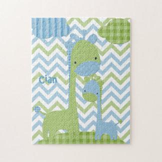 青および緑のキリンのジグソーパズル ジグソーパズル