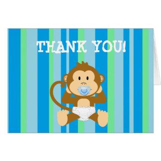 青および緑のストライプのな猿はノート感謝していしています カード