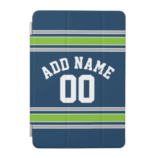 青および緑のスポーツのジャージーの名前をカスタムする数 iPad MINIカバー
