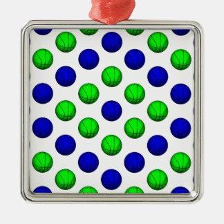 青および緑のバスケットボールパターン メタルオーナメント