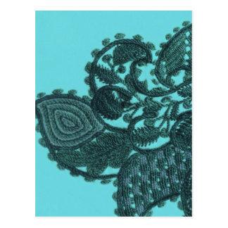 青および緑のボヘミアのペイズリー ポストカード