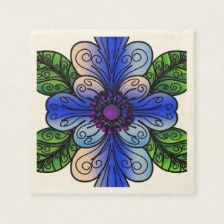 青および緑のモダンな花のデザインのナプキン スタンダードカクテルナプキン