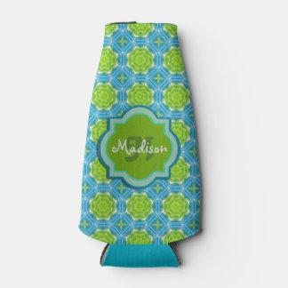 青および緑のモノグラムの曼荼羅パターン ボトルクーラー