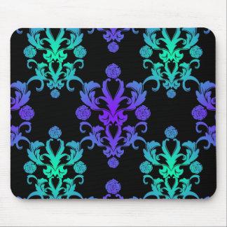 青および緑のヴィンテージのダマスク織のスタイル マウスパッド