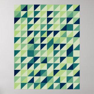 青および緑の幾何学的な格子 プリント