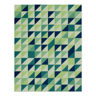青および緑の幾何学的な格子 ポスター
