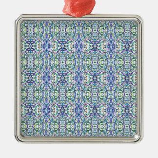 青および緑の幾何学的 メタルオーナメント