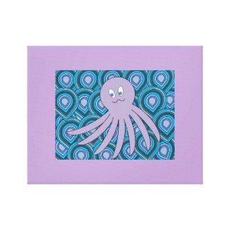 青および緑の渦巻く海の紫色のocto キャンバスプリント