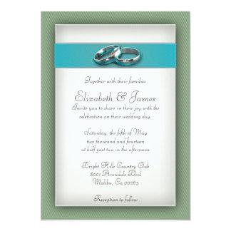 青および緑の結婚式招待状 12.7 X 17.8 インビテーションカード