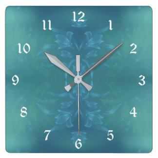 青および緑の花柄 スクエア壁時計
